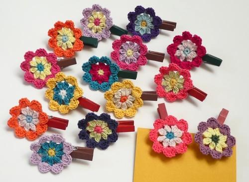 花のウッドクリップ