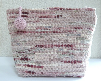 裂き織りポーチ